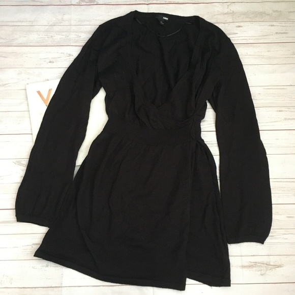H&M Dresses & Skirts - h&m womens m black sweater dress vneck faux wrap w